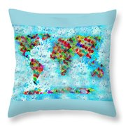 Watercolor Splashes World Map Throw Pillow