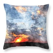 Watercolor Sunrise Throw Pillow
