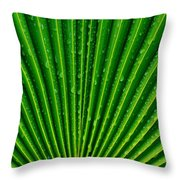 Waterdrops On Palm Leaf Throw Pillow