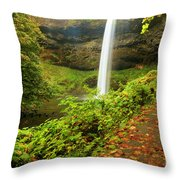 Waterfall Along The Trail Throw Pillow