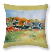 Waterfall At Old Paper Mill In Saugerties Throw Pillow