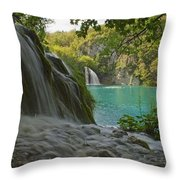 Waterfall At Plitvice National Park In Throw Pillow