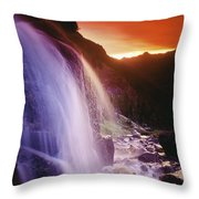 Waterfall At Sunset, Bugaboo Glacier Throw Pillow