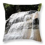 Waterfall At Treman State Park Ny Throw Pillow