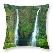 waterfall in Laos Throw Pillow