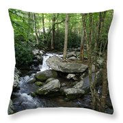 Waterfall In Stream Throw Pillow