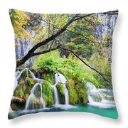 Waterfall In The Plitvice Lakes National Park Throw Pillow