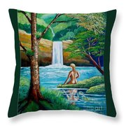 Waterfall Nymph Throw Pillow