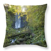 Waterfall Of Vaucoux. Puy De Dome. Auvergne. France Throw Pillow
