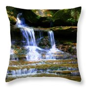 Waterfall Trio At Mcconnells Mill State Park Throw Pillow