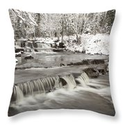 Waterfall With Fresh Snow Thunder Bay Throw Pillow by Susan Dykstra