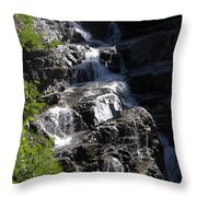 Waterfalls Along Going-to-the-sun Road Throw Pillow