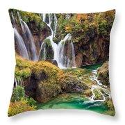 Waterfalls In Autumn Scenery Throw Pillow