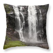 Waterfalls Over A Cliff Norway Throw Pillow
