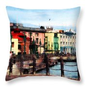 Waterfront Bridgetown Barbados Throw Pillow