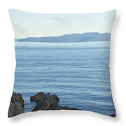 Waterfront Of Opatija Showing Statue Throw Pillow