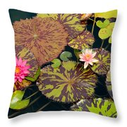 Waterlilies In A Garden Pool Throw Pillow
