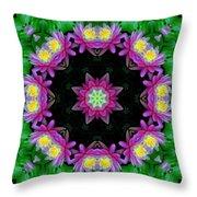 Waterlily Kaleidoscope Throw Pillow