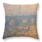 Waterloo Bridge Throw Pillow by Claude Monet