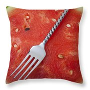 Watermelon And Fork Throw Pillow