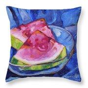 Watermelon On Blue Throw Pillow