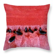 Watermelon Seeds Throw Pillow by Susan Herber