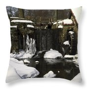 Waterwheel And Stream In Winter Throw Pillow