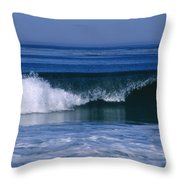 Wave Breaking Right On The Beach At 17 Throw Pillow