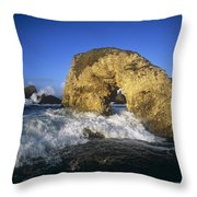 Wave Splashing Against Natural Arch Throw Pillow