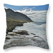 Waves At Kaena State Park 7847 Throw Pillow