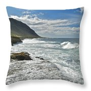 Waves Breaking On Shore 7876 Throw Pillow