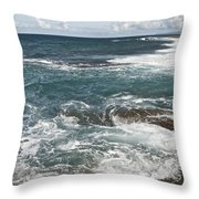 Waves Breaking On Shore  7918 Throw Pillow