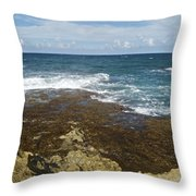 Waves Breaking On Shore 7930 Throw Pillow