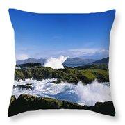 Waves Breaking Over Rocks, West Cork Throw Pillow
