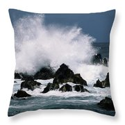 Waves Crash Against The Rocks In Great Throw Pillow