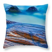 Waves Crashing On Rocky Shoreline Throw Pillow