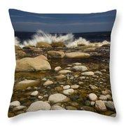 Waves Hitting Rocks, Anchor Brook Throw Pillow