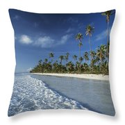 Waves Lapping Shore Of Beach With Palm Throw Pillow