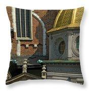 Wawel Domes In Krakow Poland Throw Pillow