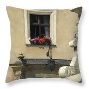 Wawel Flower Box And Achitecture Throw Pillow