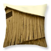 Weathered Barn II In Sepia Throw Pillow