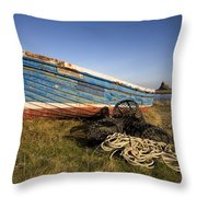 Weathered Fishing Boat On Shore, Holy Throw Pillow