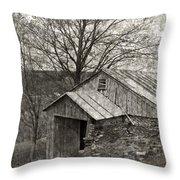 Weathered Hillside Barn Throw Pillow