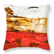 Weathered With Red Stripe Throw Pillow by Silvia Ganora
