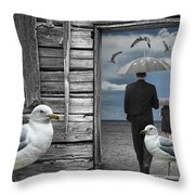 Weathering The Gulls Throw Pillow