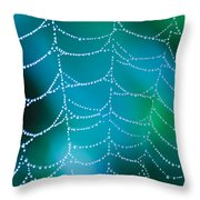 Web With Dew Droplets Throw Pillow