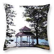 Wedding Gazebo By Lake Erie At Evangola State Park Throw Pillow