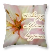 Wedding Happiness Greeting Card - Lilies Throw Pillow