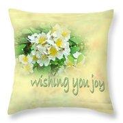 Wedding Wishing You Joy Greeting Card - Wildflower Multiflora Roses Throw Pillow