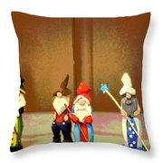 Wee Wooden People Throw Pillow